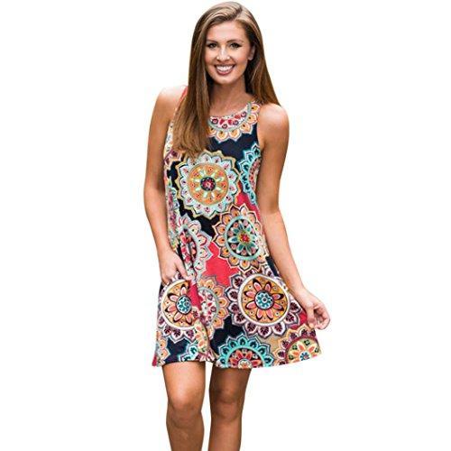 1d2e45d4528160 Honestyi Damen Maxikleider Sommerkleider vintage Boho Blumen Kleid  Neckholder Printkleider Partykleider Strandkleider Minikleid Große Größe  S-XXL